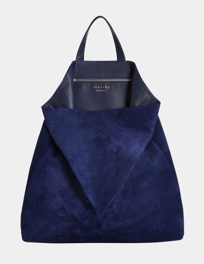 Tote Bag Fluke Goat Suede Pacific Blue