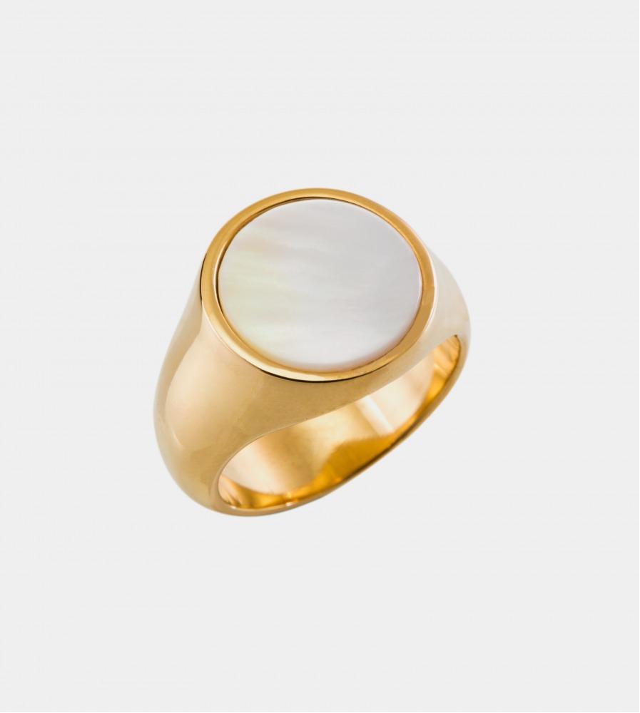 Signet Nacre Ring